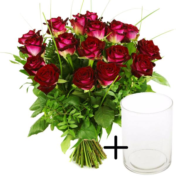 Rode rozen met gratis glazen vaas bestellen of bezorgen