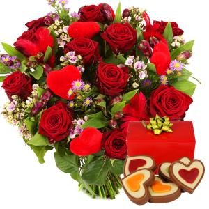 Rode rozen met hartjes chocolade bezorgen bestellen of bezorgen