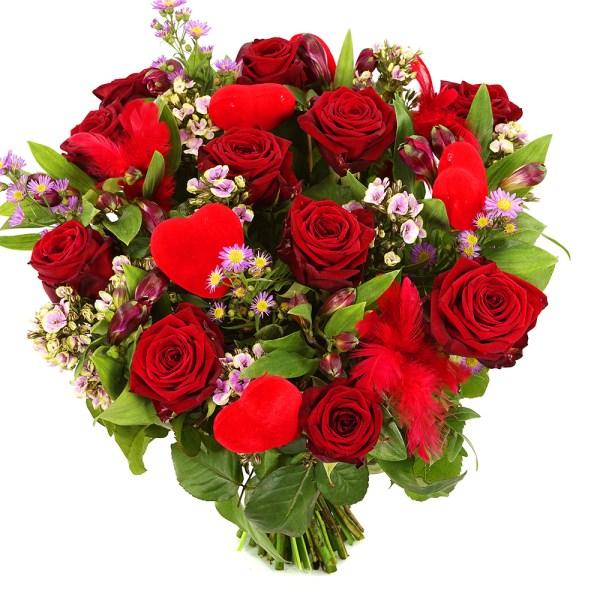 Rode valentijn rozen met hartjes bezorgen bestellen of bezorgen