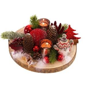Rood zijde kerststuk bezorgen bestellen of bezorgen