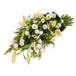 Rouwboeket witte rouwbloemen bezorgen bestellen of bezorgen