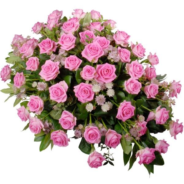 Rouwstuk roze rozen bestellen of bezorgen