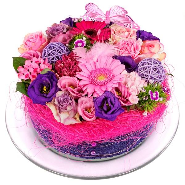 Roze paars Bloementaart bezorgen bestellen of bezorgen