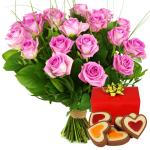 Roze rozen met hartjes chocolade bezorgen bestellen of bezorgen