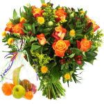 Vers fruit en oranje rozen boeket bestellen of bezorgen