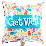"Vierkante ""Get well"" pleister ballon versturen bestellen of bezorgen"