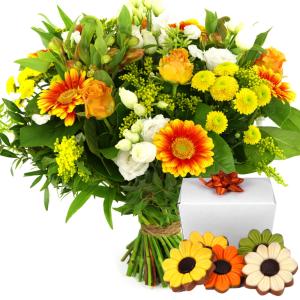 Vrolijk boeket met bloemetjes chocolade bestellen bestellen of bezorgen