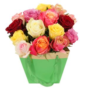 Gemengde rozen in gift tas bestellen of bezorgen
