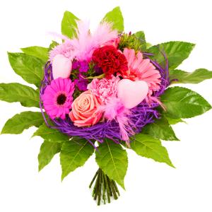 Moederdag boeket in frame roze lila bestellen of bezorgen