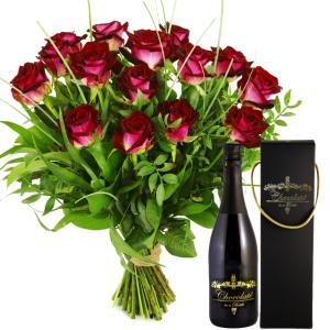 Rode rozen + Chocolade wijn bestellen of bezorgen