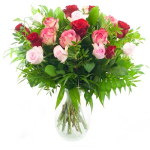 Boeket rode - roze rozen bestellen of bezorgen online