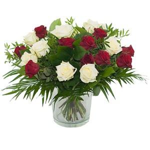 Boeket rode - witte rozen bestellen of bezorgen online