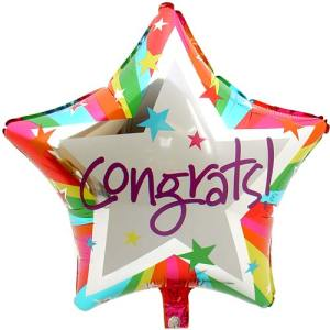 Congrats ballon (regenboog) 45cm bestellen of bezorgen online