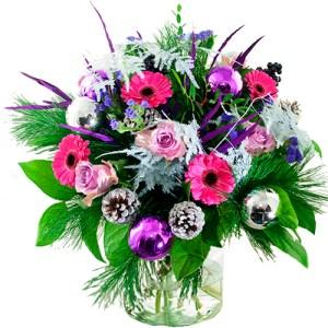 Kerstboeket paars/lila wit bestellen of bezorgen online