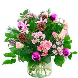 Kerstboeket roze bestellen of bezorgen online