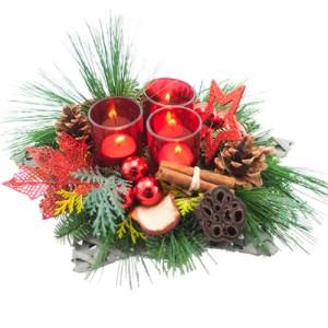Kerststuk in schaal rode tinten bestellen of bezorgen online