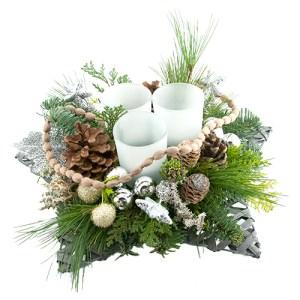 Kerststuk in schaal zilver tinten bestellen of bezorgen online