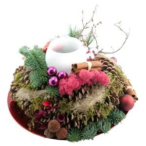 Kerststuk rood roze op schaal bestellen of bezorgen online