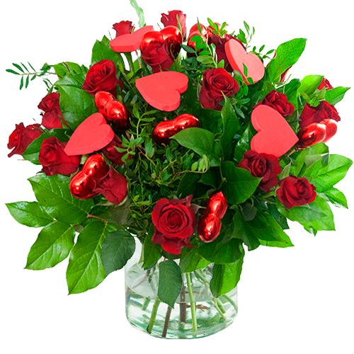 Moederdag boeket rode rozen met hartjes bestellen of bezorgen online