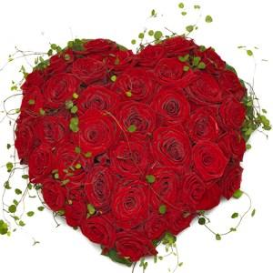 Rouwarrangement hart vorm rode rozen bestellen of bezorgen online