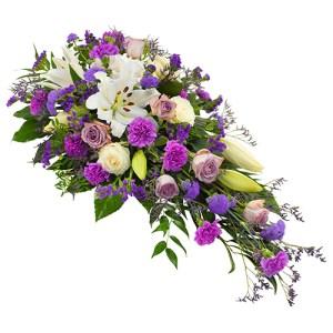 Rouwarrangement lila-paars wit bestellen of bezorgen online