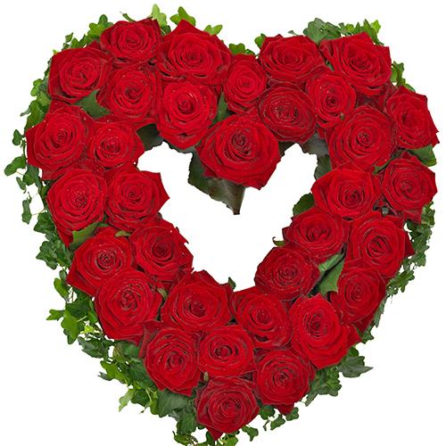 Rouwarrangement open hart vorm rode rozen bestellen of bezorgen online