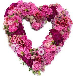 Rouwarrangement open hart vorm roze bloemen bestellen of bezorgen online
