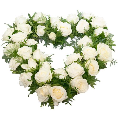 Rouwarrangement open hart vorm witte rozen bestellen of bezorgen online