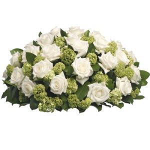 Rouwarrangement witte rozen bestellen of bezorgen online