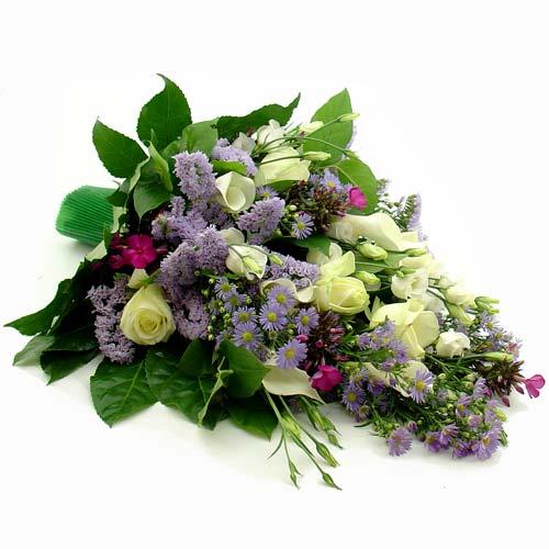 Rouwboeket blauw wit paars bestellen of bezorgen online