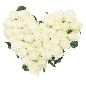 Rouwboeket hartvorm witte rozen bestellen of bezorgen online