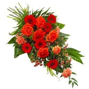 Rouwboeket oranje rood bestellen of bezorgen online