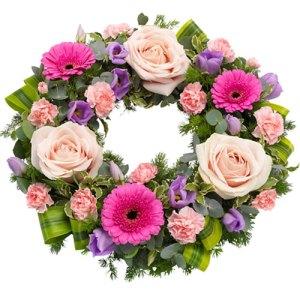 Rouwkrans Ajour roze lila bestellen of bezorgen online
