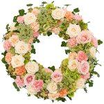 Rouwkrans Ajour zacht roze - wit bestellen of bezorgen online