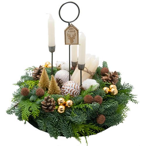 Royaal kerstarrangement met kaarsjes bestellen of bezorgen online