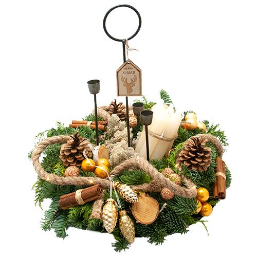 Royaal kerstarrangement met kaarsjes en led lampjes bestellen of bezorgen online