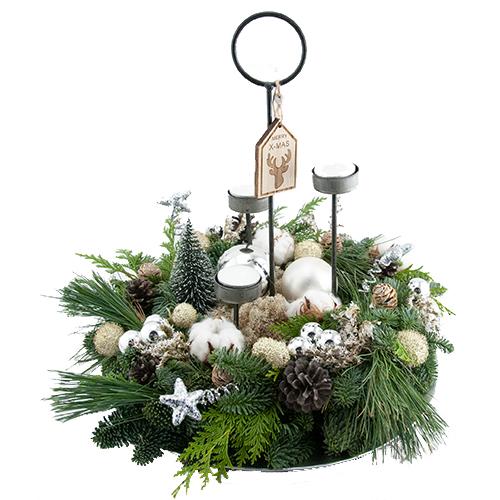 Royaal kerstarrangement zilver met waxine lichtjes bestellen of bezorgen online