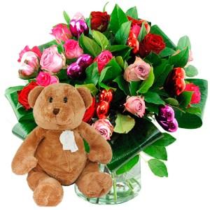 Valentijn boeket mix rozen + bruine beer bestellen of bezorgen online