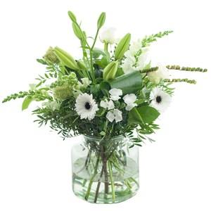 Wit boeket met vaas bestellen of bezorgen online