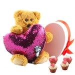 beer humphrey met een roze lovertjes kussen en cupcake bonbons bestellen of bezorgen online