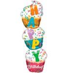gestapelde cupcake Happy Birthday 104cm bestellen of bezorgen online