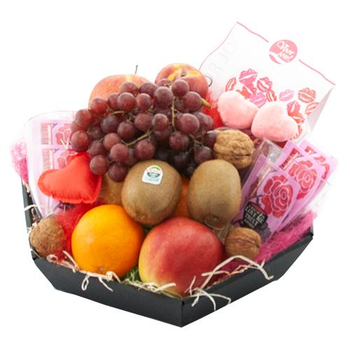 valentijn fruitmand thee en chocolade bestellen of bezorgen online