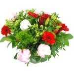 Rood roze boeket met pioenrozen bestellen of bezorgen online