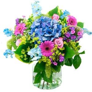 Zomer boeket in paars blauw bestellen of bezorgen online