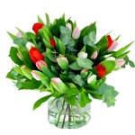 Boeket met drie kleuren tulpen (NIET LEVERBAAR IN VERBAND MET SEIZOEN) bestellen of bezorgen online