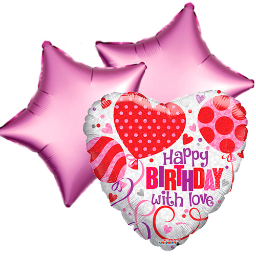 Ballonboeket Happy Birthday With Love bestellen of bezorgen online