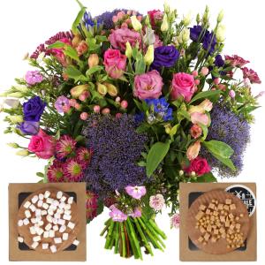 Boeket paars roze + stroopwafels met topping bestellen of bezorgen