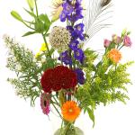 Bonte bloemen in glazen vaas bestellen of bezorgen