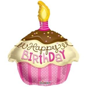 Happy Birthday Cupcake roze bestellen of bezorgen online