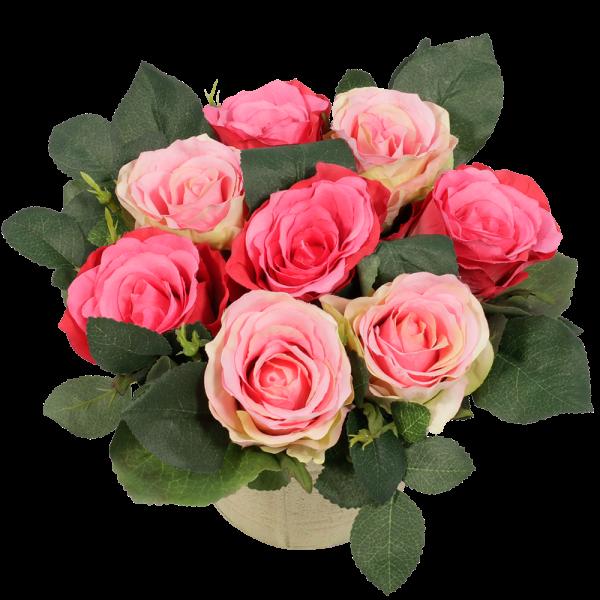 Zijde roze rozen in pot bestellen of bezorgen